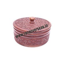 Wooden Beautifully Carving Round Box