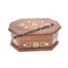 Wooden Decorative Brass Inlay Flower Shape Sweets Box