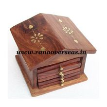 Wooden Hut Shape Brass Inlay Coaster Set