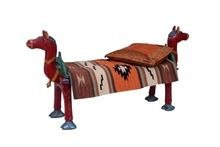 hand painted solid wood horse bench