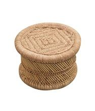natural straw low height stool