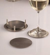 Stainless Steel Round Cup Coaster with Holder