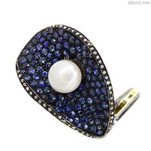 Blue Sapphire and Pearl Ring