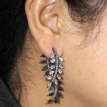 Moonstone and Blue Sapphire Leafs Earrings