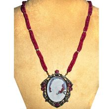 Ruby Cameo Carving Necklace