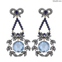 Sapphire and Blue Topaz Dangle Earrings