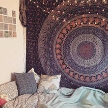 Bohemian Psychedelic Intricate Floral Design Tapestry..