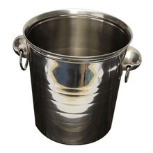 STAINLESS STEEL ICE BUCKET WITH TONGS.