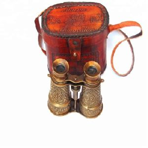 Nautical Binocular with Embossed Red Leather Box