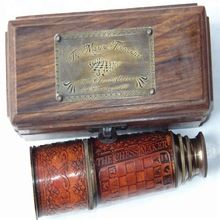 Nautical Marine chess Maker Red Leather Telescope with box