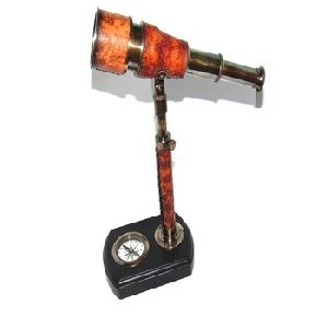 Nautical Red Leather etching Telescope with stand