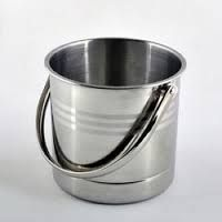 Stainless steel finish pail bucket with Ribbed