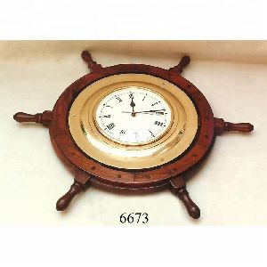 Brass Ship Wheel Clock