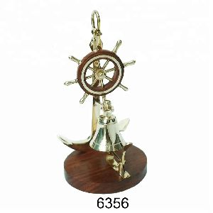 Nautical Ship Wheel and Brass Table Bell