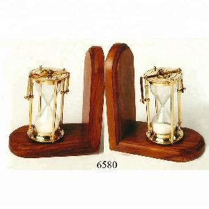 Wooden Brass Nautical Timer Bookend