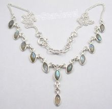 MARQUISE BLUE FIRE LABRADORITE Curb Chain Necklace