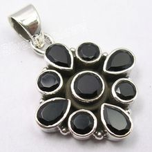 natural black onyx 925 silver pendant