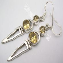 sterling silver natural citrine gemstone dangle fashion earring