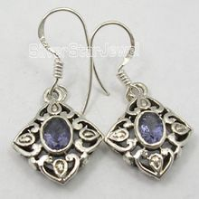 sterling silver natural iolite gemstone dangle earring