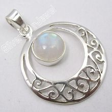 sterling silver natural rainbow moonstone handmade pendant