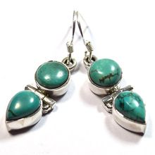 Genuine Turquoise Gemstones Pure Silver Earring
