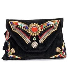 SEQUINSE LEATHER BOHO CLUTCH BAG