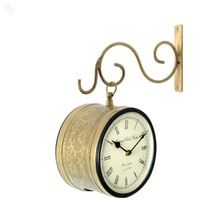 Brass embossed Double Side Station Wall Clock