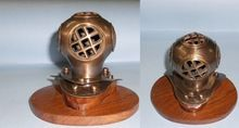 Brass Nautical Antique Finish 4 inch Mini Decorative Diving Helmet with Wood Base,