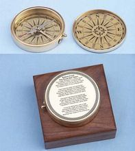 Brass Nautical Poem Compass with Wooden Box
