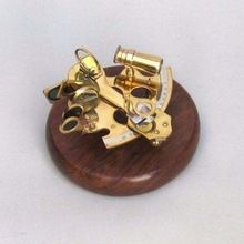 Brass Replica Desk Marine Nautical Sextant with Wood Base