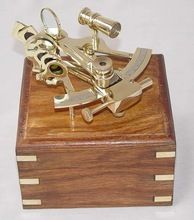 Brass Shiny Finish Decorative Nautical Sextant with Wood Box