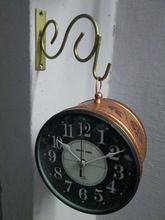 Bronze embossed Double Side Station Wall Clock