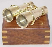 Nautical Brass Binocular in Wood Box,