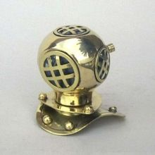 Nautical Shiny Brass 4 inch Mini Decorative Diving Helmet