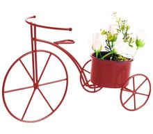 Decorative red bicycle planter