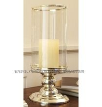 metal candle holder hurricane with glass