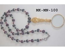 Beaded Necklace With Magnifying Glass Pendant