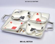 Playing Cards Shape Bowls Set With Tray