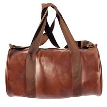 Fake leather duffle bag