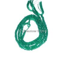 Gemstone Green Onyx Faceted Rondelle Gems Beads
