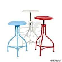 Metal Design Wood Top Stool