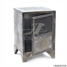 One Drawer Metallic Side Table