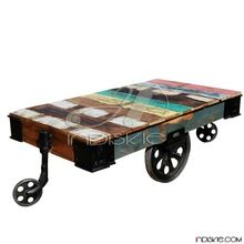 Rustic Reclaimed Wood Rolling Cart