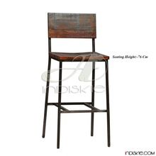 Rustic Recycled Wooden Iron Dining Kitchen Counter Bar Chair