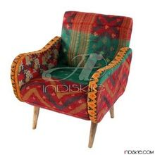Upholstered Chair Kantha Fabric Vintage