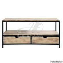 Vintage Industrial Media Console Table