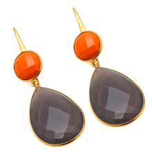 Gray Chalcedony and Orange Stone Earrings