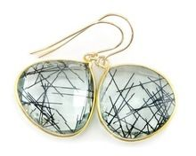 sterling silver Black Rutile earring