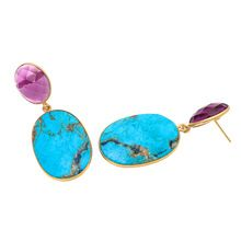 Turquoise And Pink Tourmaline Earring