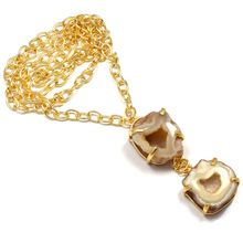 22 Carat Gold Plated Geode Agate Simple Chain Vintage Beautiful l Necklace